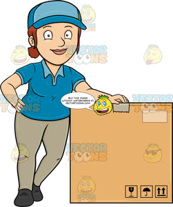 A Delivery Woman Poses Beside A Jumbo Box