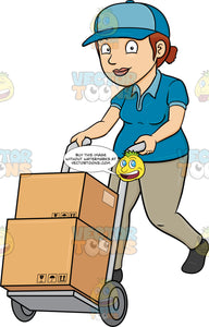 A Delivery Woman Pushing A Trolley With Multiple Boxes
