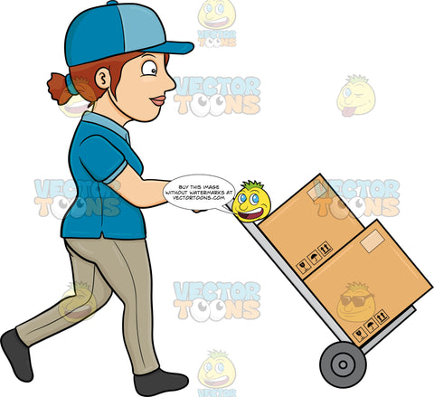 A Delivery Woman Transporting Multiple Packages