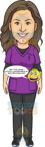 A Beautiful Dental Hygienist Wearing Black And Purple Scrubs