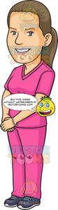 A Pretty Dental Assistant In Pink Scrubs