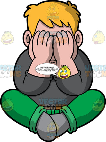 Sam Suffering From Depression. A man wearing green pants, a long sleeve dark gray shirt, and gray socks, sitting on the floor with his hands covering his face