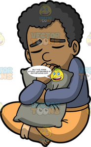 Jimmy In A Depressed Mood. A black man wearing track pants and a long sleeve shirt, sitting on the floor, hugging a pillow, and closing his eyes in sadness