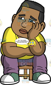 James Looking Sad and Depressed. A black man wearing lavender pants, a yellow t-shirt, and green and white sneakers, sitting on a stool with his head resting in his hand and a sad look on his face