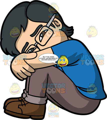 Simon In A Depressed State. An Asian man wearing light brown pants, a blue t-shirt, brown shoes, and eyeglasses, sitting on the floor with his knees bent, arms wrapped around his knees, and head tilted to the side resting on his legs, with a sad look on his face