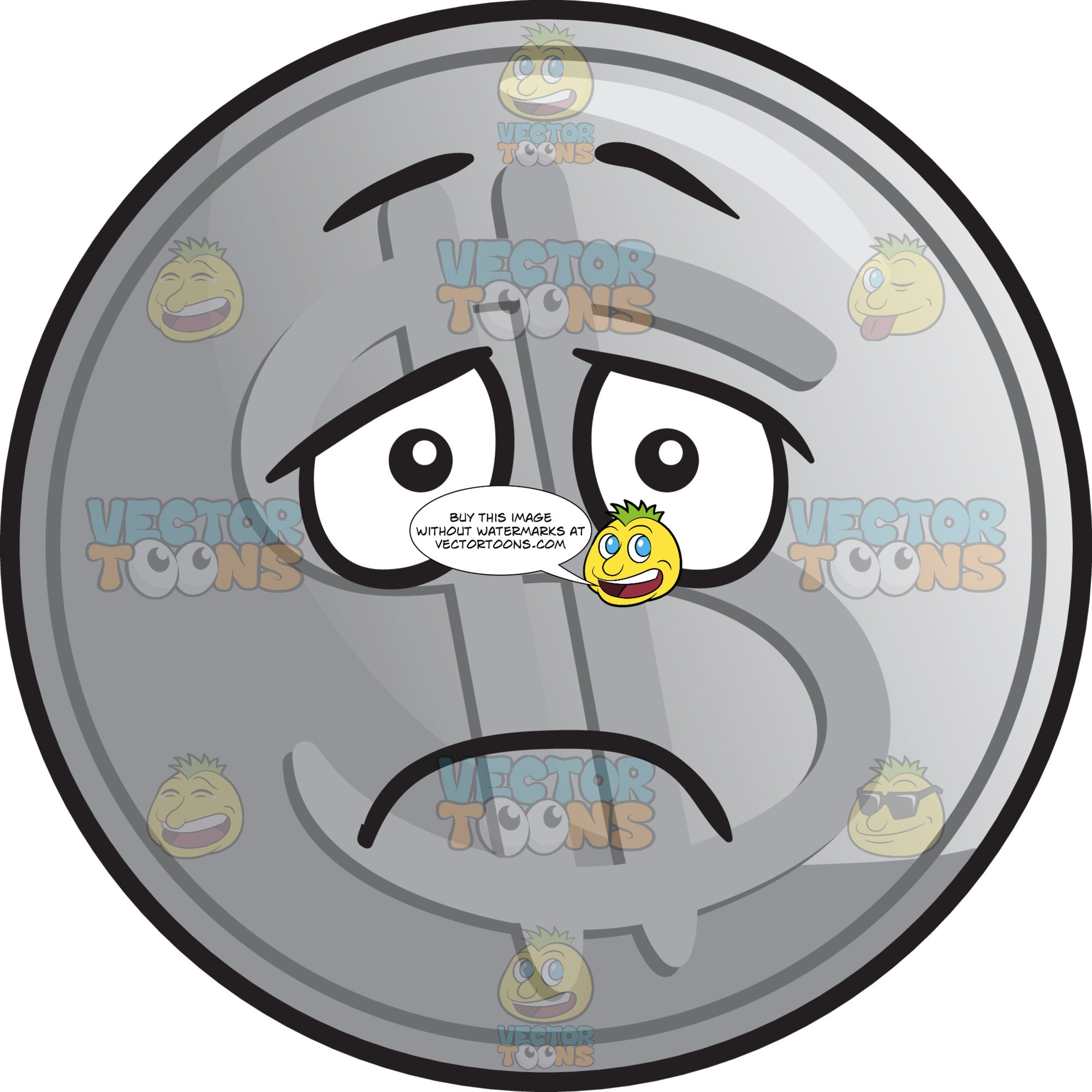 Depressed Silver Coin Emoji