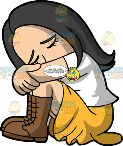 Connie Feeling Sad And Depressed. An Asian woman wearing a yellow skirt, a white t-shirt, and brown boots, sitting on the floor hugging her knees to her chest and resting her head against her arm with her eyes closed