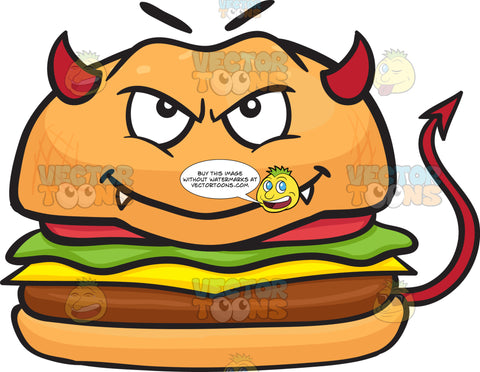 Devil Cheeseburger With Horns Fangs And Tail