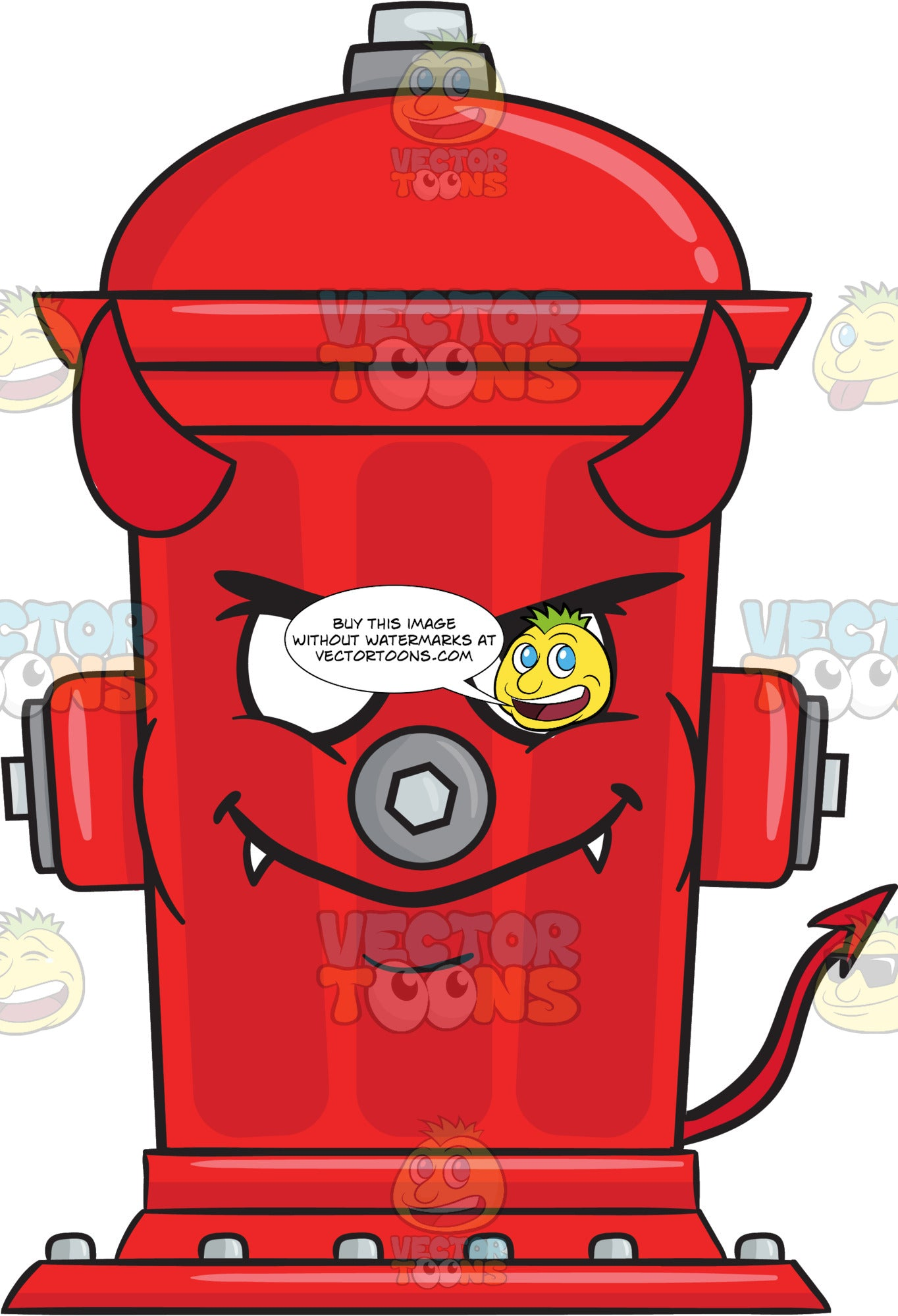 Devilish Looking Fire Hydrant With Fangs Horns And Tail Emoji