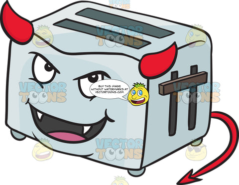 Devilish Pop Up Toaster Smiling With Fangs Horns And Tail Emoji