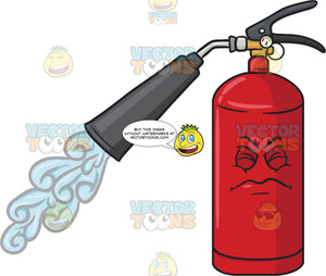 Disgruntled And Startled Fire Extinguisher Spraying Emoji