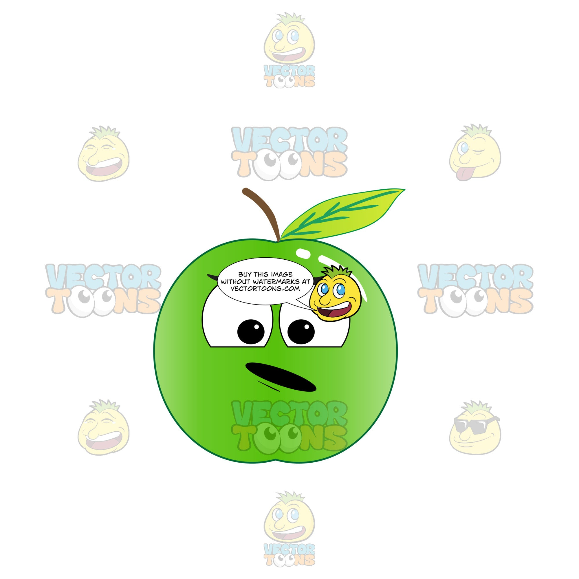 Displeased And Surprised Look On Green Apple Emoji