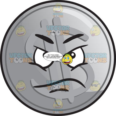 Displeased Silver Coin Emoji