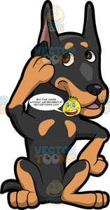 A Doberman Dog Making A Cellphone Call