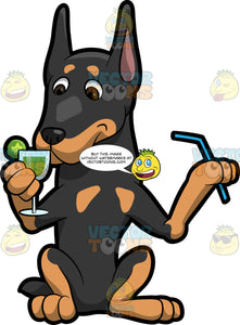 A Doberman Dog Drinking A Cocktail