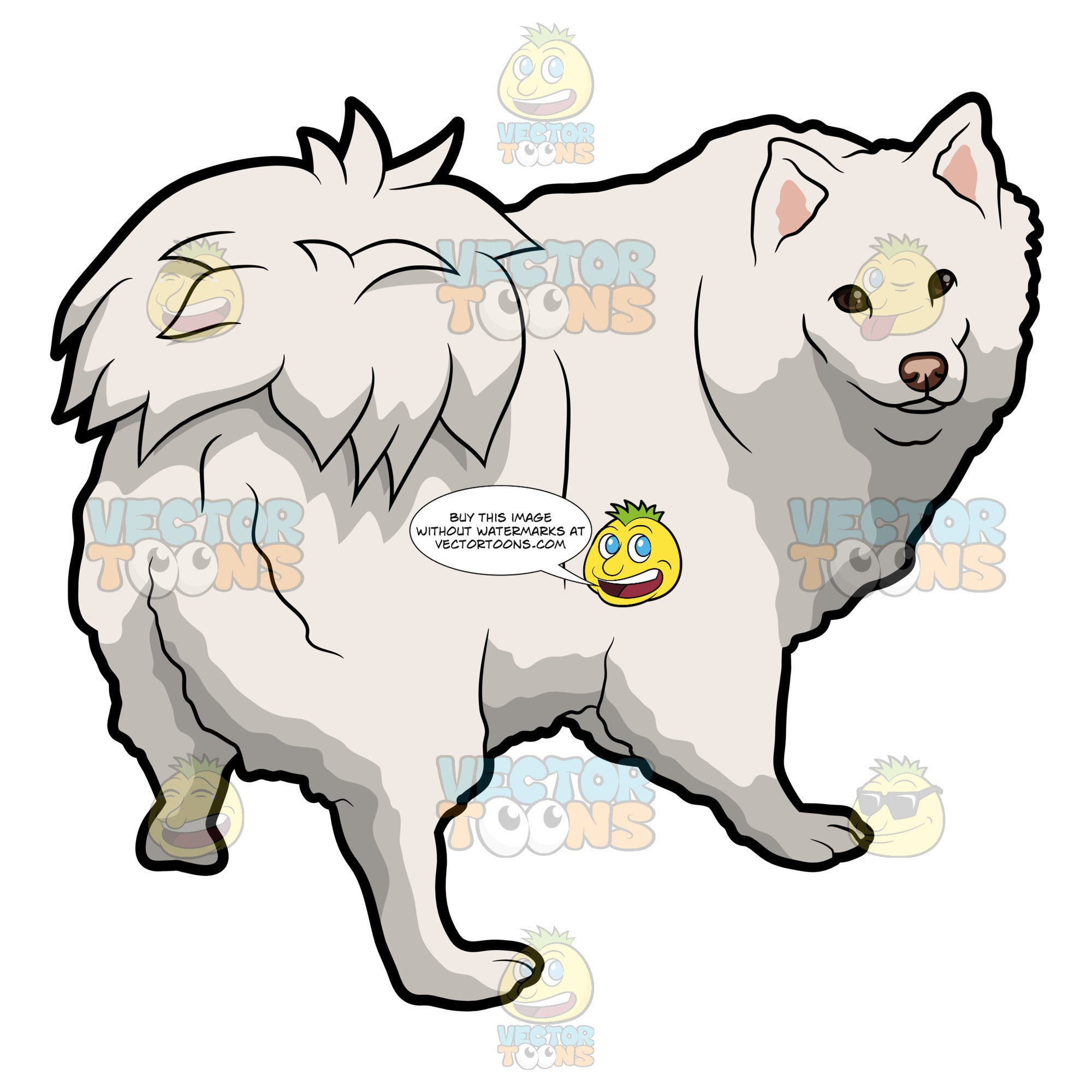 An Adorable Samoyed Dog Clipart Cartoons By Vectortoons