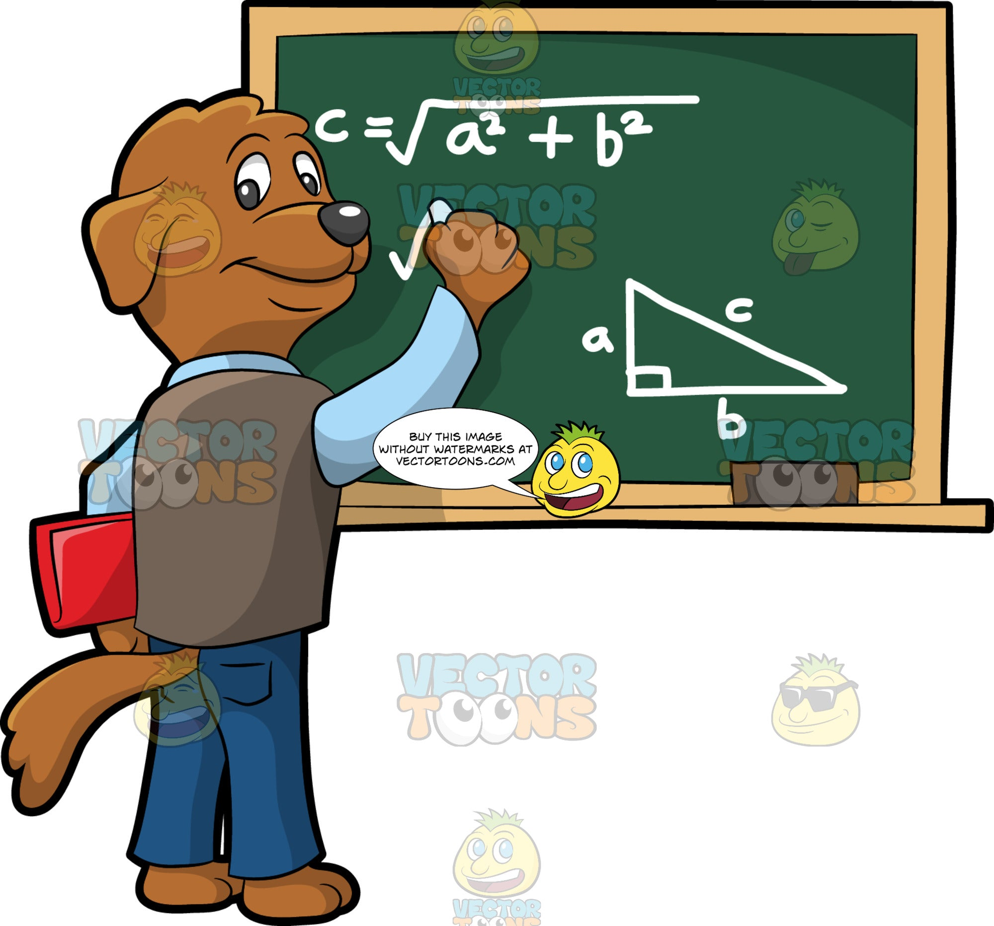 A Math Teacher Dog. A dog with brown coat, dark gray nose, wearing a light blue dress shirt under a pale brown vest, blue jeans, smiles while carrying a red folder in between his left arm and side belly, as he writes the Pythagorean theorem using a white chalk on a green board with pale beige border and a brown eraser
