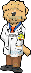 A Doctor Dog. A dog with shaggy beige coat that covers his eyes, and a dark gray nose, wearing a blue dress shirt and orange necktie under a white lab jacket, brown pants, dark gray shoes, as a stethoscope hangs around his collar