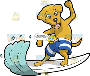 A Surfing Dog. A dog with yellowish brown coat and droopy ears, wearing a blue with white board shorts, smiles while surfing the sea waves using a white surfboard