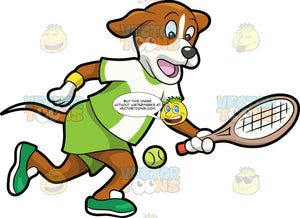 A Dog Playing Tennis. A dog with brown and white coat, droopy ears, wearing an apple green and white shirt, apple green shorts, green with white shoes, yellow wristbands, runs to hit a neon green tennis ball using a beige with orange tennis racket