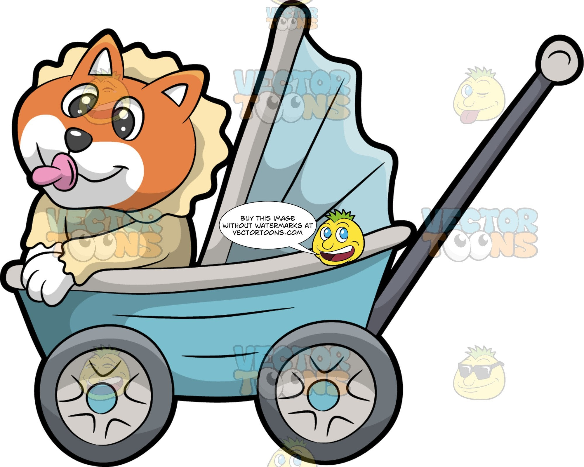 A Cute Baby Dog In A Stoller. A puppy with orange brown and white coat, wearing a beige baby suit with a huge ruffled collar, sucking a pink pacifier while smiling and riding in a light blue and gray wheeled baby stroller