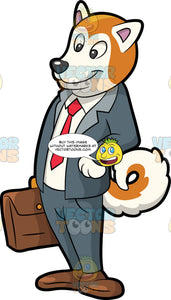 A Dog In A Business Suit. A dog with golden and white coat, curly tail, wearing a gray suit, white dress shirt, red necktie, brown shoes, smiles while carrying a brown briefcase in his right hand