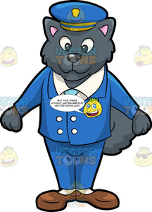 A Bus Driver Dog. A dog with dark gray thick coat, wearing a blue double breasted suit, white dress shirt, light blue necktie, blue with yellow and blue cap, white socks, brown shoes, smiles while slightly lifting his front paws sideways