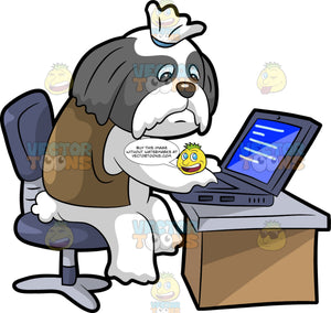 An Office Worker Dog Using A Laptop. A dog with white and gray coat, droopy long ears, ponytailed top, looking sad while sitting on a purple office chair behind a brown with lavender desk, as he uses a purple laptop