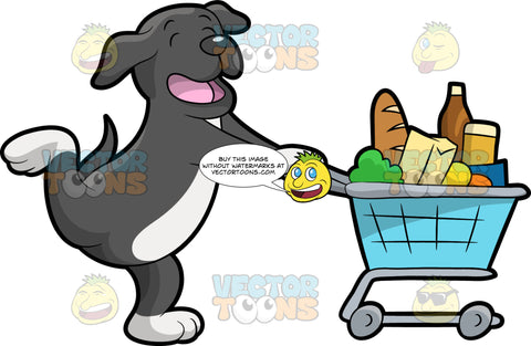 A Happy Dog Shopping For Groceries. A dog with dark gray and white coat, shuts its eyes and sings happily while pushing a gray grocery cart filled with goodies like a baguette, bottled drink, vegetables, fruits and boxes
