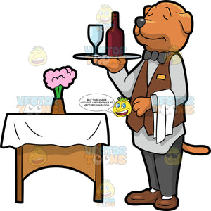A Dog Waiter. A dog with reddish brown coat, dark gray nose, wearing a light gray dress shirt, dark gray bow tie, pants, brown vest and shoes, closes its eyes and smiles while standing straight while carrying a gray tray with wine glass and a red bottle of wine in its right front paw, and a white towel on its left arm, as it stands beside a brown table with a white table cloth and pink flowers in a brown vase on top