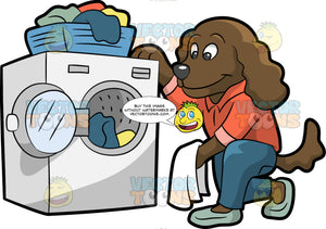 A Dog Doing Laundry. A dog with dark brown coat, droopy ears, gray nose, wearing an orange collared shirt, dark teal pants, mint green shoes, smiles while kneeling beside a white front load washing machine to wash its clothes, placed in a blue basket