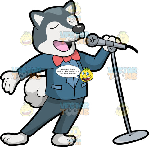 A Singing Dog. A dog with gray and white coat, fluffy white tail, wearing a blue suit jacket, dark gray pants, salmon pink bow tie, shuts its eyes while singing a song while holding a gray microphone with stand