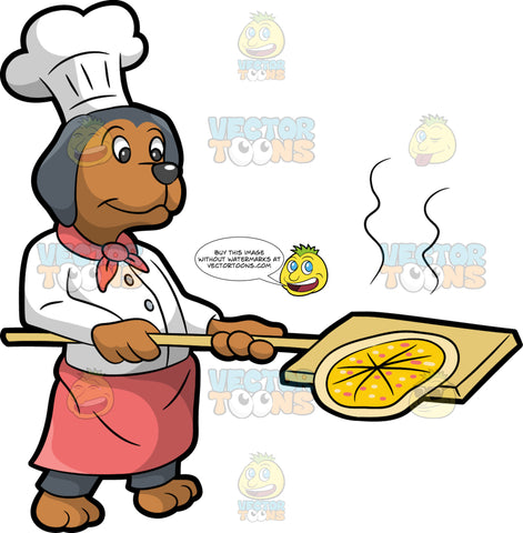 A Dog Making Pizza. A dog with gray and brown coat, wearing a white toque hat, kitchen jacket, gray pants, pink apron and scarf tied around its neck, smiles while holding a large wooden spatula to get a hot pizza