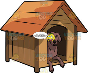An Alerted Dog In A Dog House