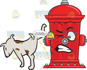 Dog Pissing On A Disgruntled And Startled Fire Hydrant Emoji
