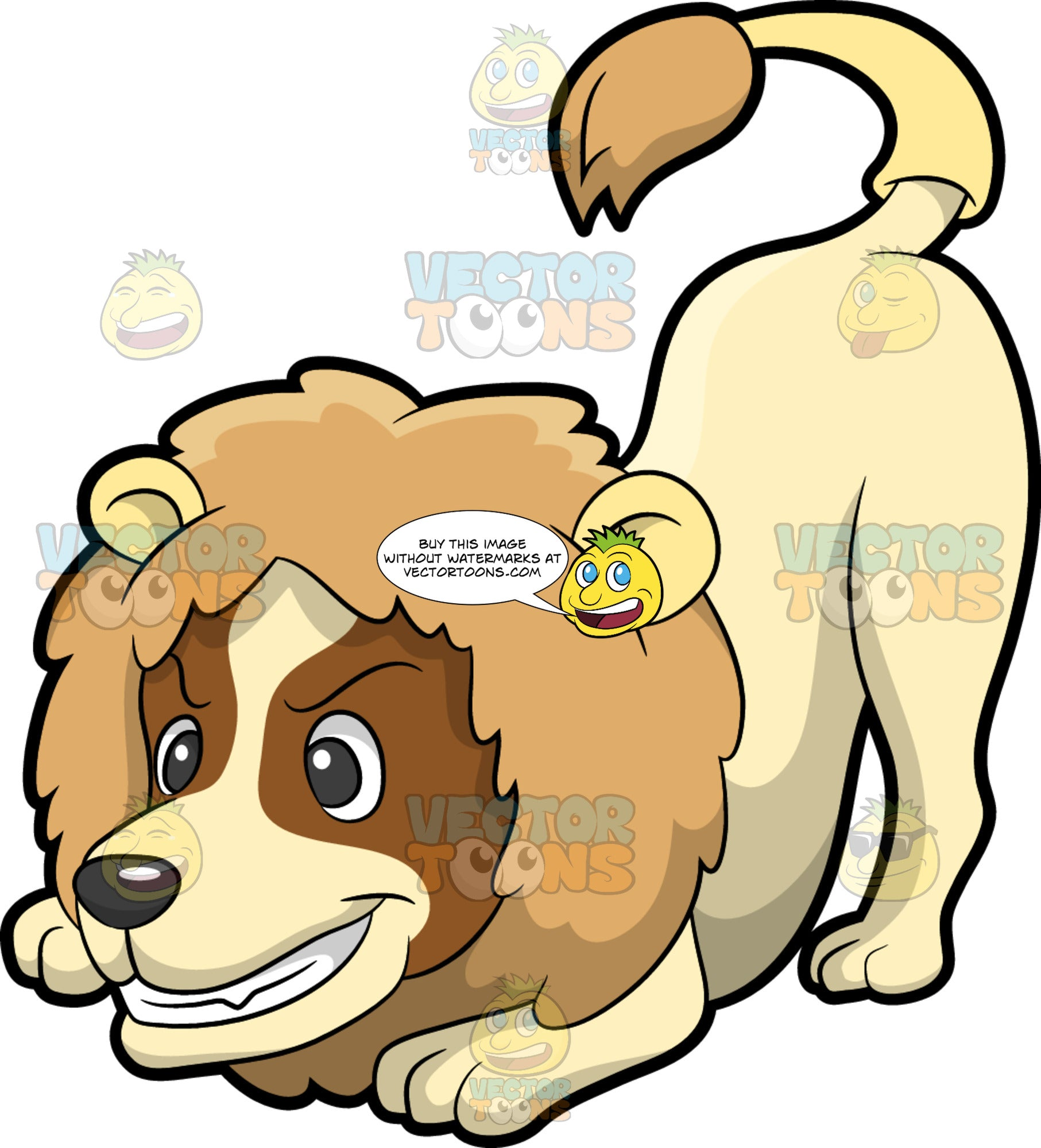 A Dog In A Mighty Lion Costume. An adorable dog with cream colored coat, brown markings on its face, grits its teeth while wearing a lion costume with fake light brown mane and tail