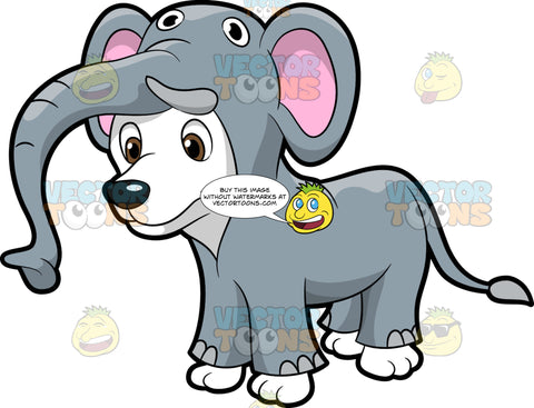 A Dog In An Elephant Costume. A cute puppy with white coat, smiles while wearing an adorable gray elephant costume with a long trunk, pink ears, and tail