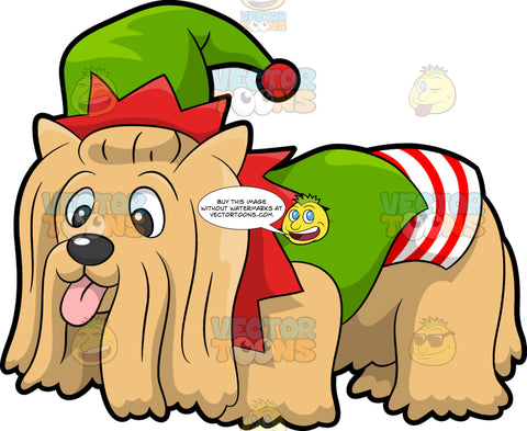 A Dog In An Elf Costume. A cute puppy with long light brown coat, erect ears, parts its lips to reveal a pink tongue, while wearing a green, white and red elf costume