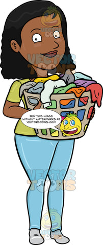 A Smiling Black Woman Carrying A Plastic Laundry Hamper Full Of Clothes