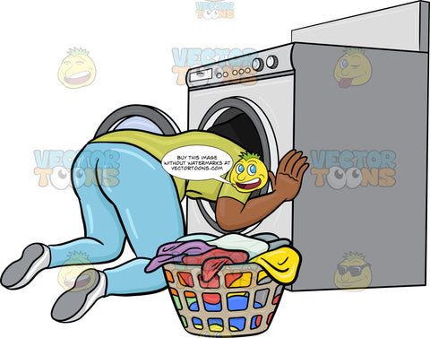 A Black Woman Searching For Missing Object Inside The Washing Machine