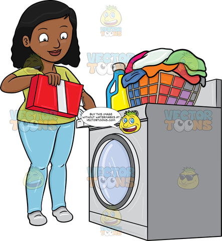 A Black Woman Adding A Good Measure Of Detergent Powder To Her Laundry Washer