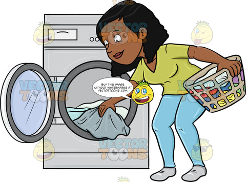 A Black Woman Taking Out Her Washed Linens From The Washer