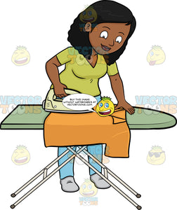 A Black Woman Ironing A Shirt
