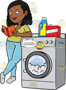 A Black Woman Kills Time By Reading A Book While Waiting For Her Laundry To Finish