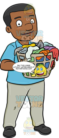 A Smiling Black Man Carrying A Plastic Laundry Hamper Full Of Clothes