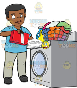 A Black Man Adding A Good Measure Of Detergent Powder To His Laundry Washer