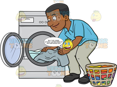 A Black Man Taking Out His Washed Linens From The Washer