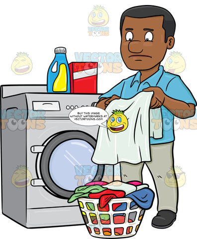 A Black Man Looks At A Washed Garment With Disappointment On His Face