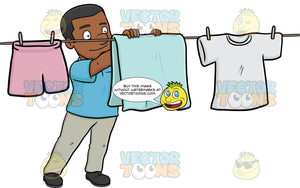 A Cheerful Black Man Hanging Garments To Dry On A Bright Day