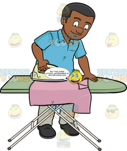 A Black Man Ironing A Shirt